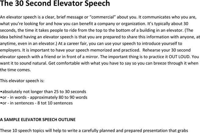 Elevator Speech Examples