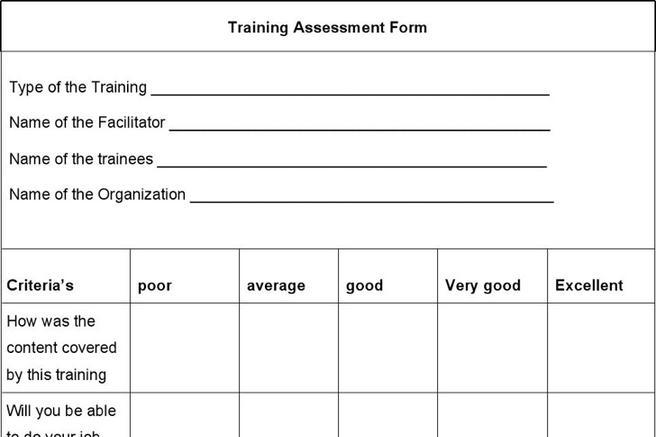 Training Assessment Form  Download Free  Premium Templates Forms