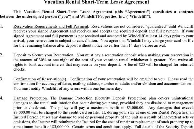 Rent and Lease Template – Sample Short Term Rental Agreement