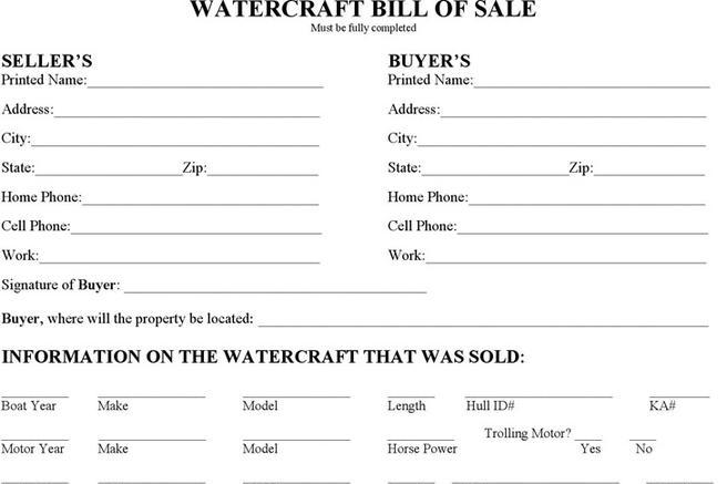 Watercraft Bill Of Sale  Download Free  Premium Templates Forms