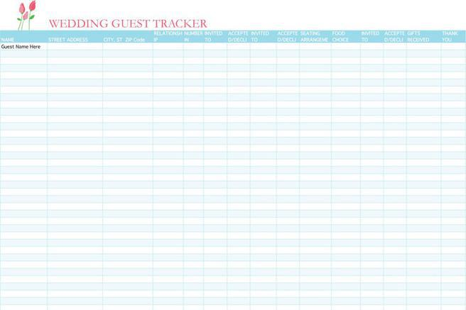 Wedding Guest List Template  Download Free  Premium Templates