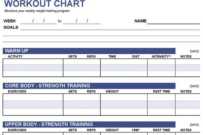 Chart Template – Workout Char Template