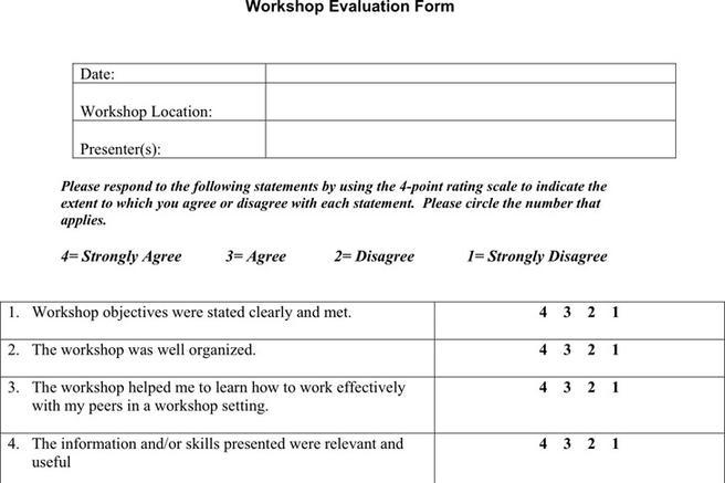 Workshop Evaluation Form. Workshop Supervisor Perfomance Appraisal