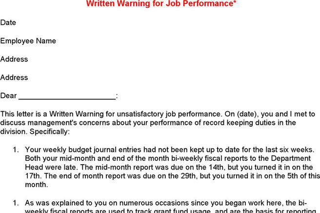 employee warning letter template free download