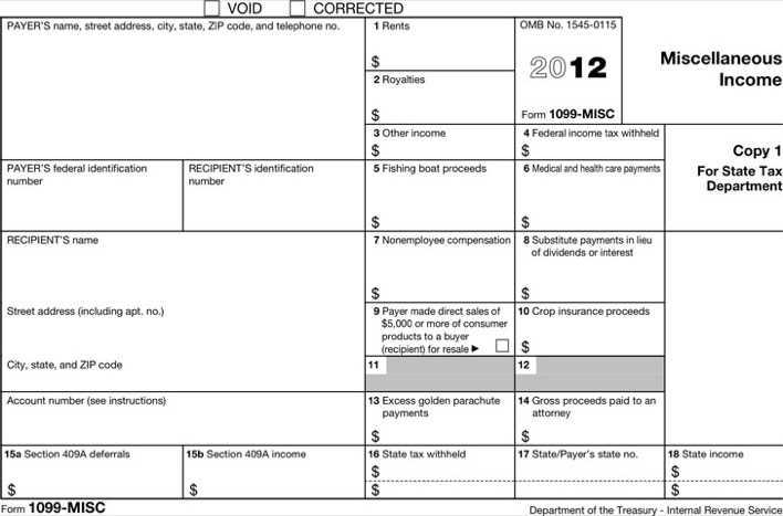 1099 misc form 2012 download free premium templates forms samples for pdf formats. Black Bedroom Furniture Sets. Home Design Ideas