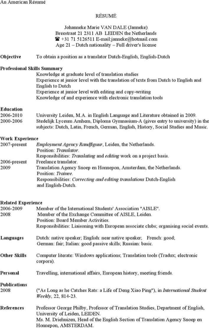american-resume-example-template-1 Sample American Resume Format on for high school students, job application,