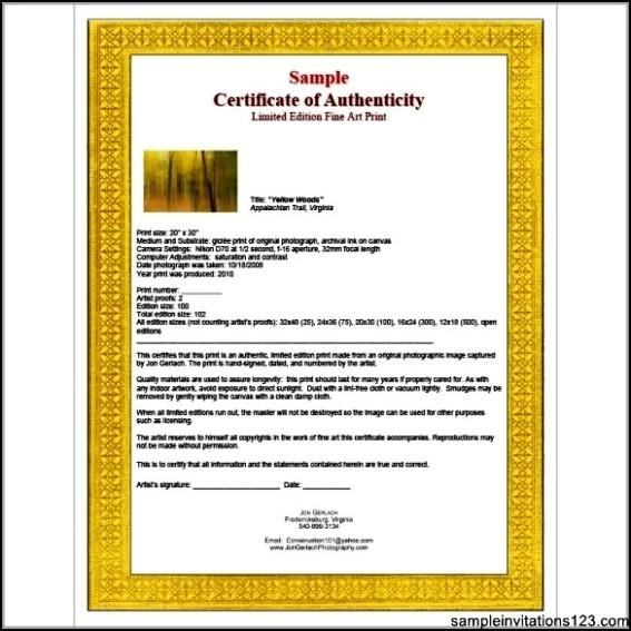Art Certificate Of Authenticity Template Download Free Premium