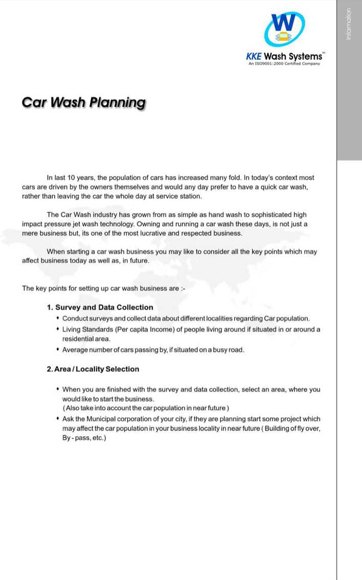 Automatic Car Wash Business Plan Sample