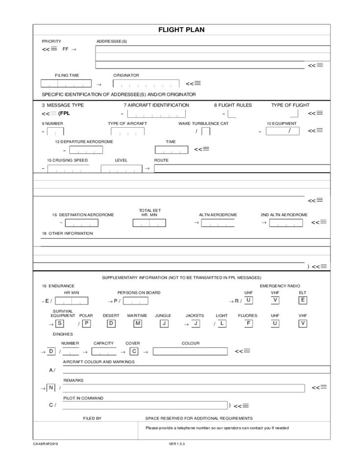 Flight Plan Template Flight Plan Form And Worksheet Vfr Flight