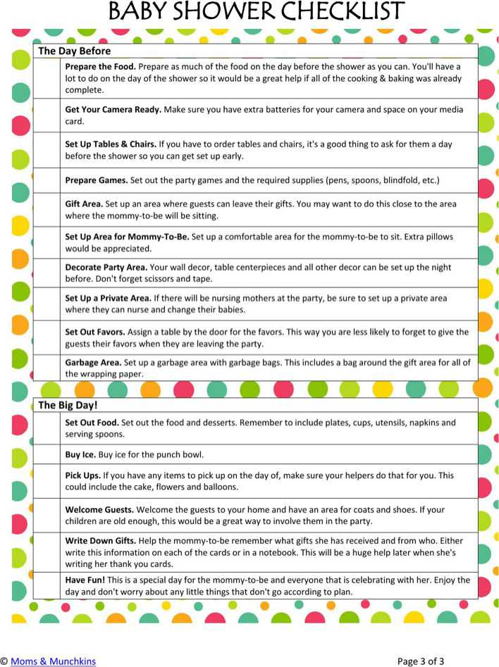 Beautiful Baby Shower Checklist Template Contemporary  Example