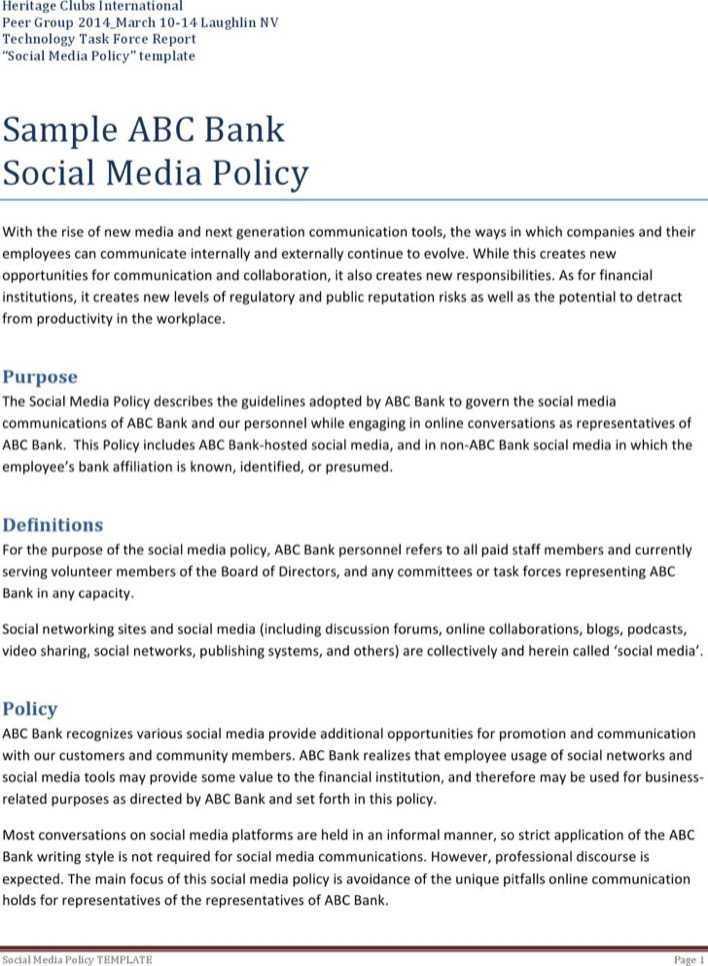bank social media policy template download free premium templates forms samples for pdf. Black Bedroom Furniture Sets. Home Design Ideas