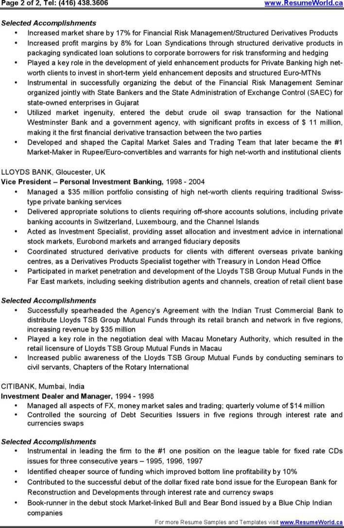 Investment Banking Resume Example Investment Banking Resume