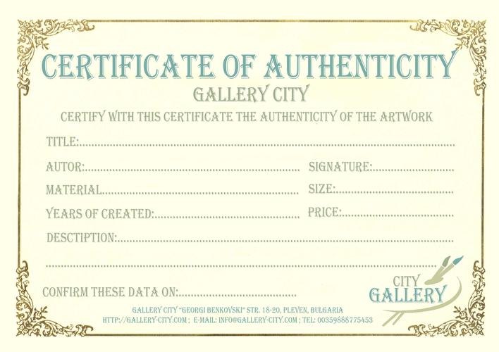 Best Artist Certificate Of Authenticity Template Download Free