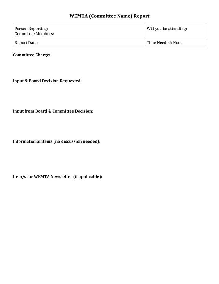 Blank Board Committee Report Template Word Format Sample .