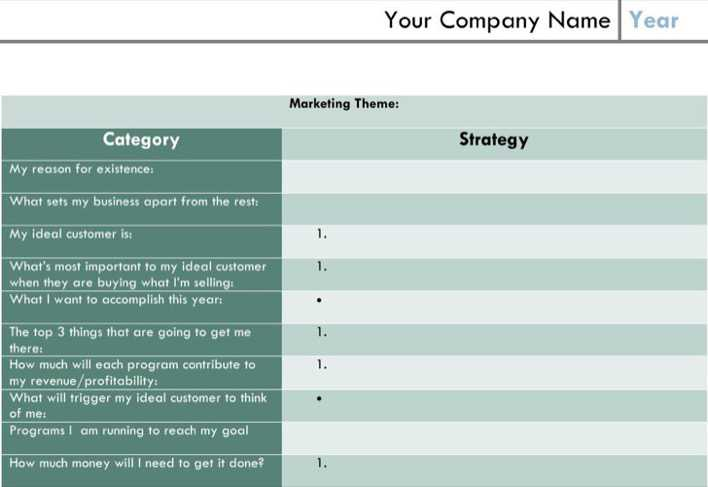 Blank One Page Marketing Plan Template 1