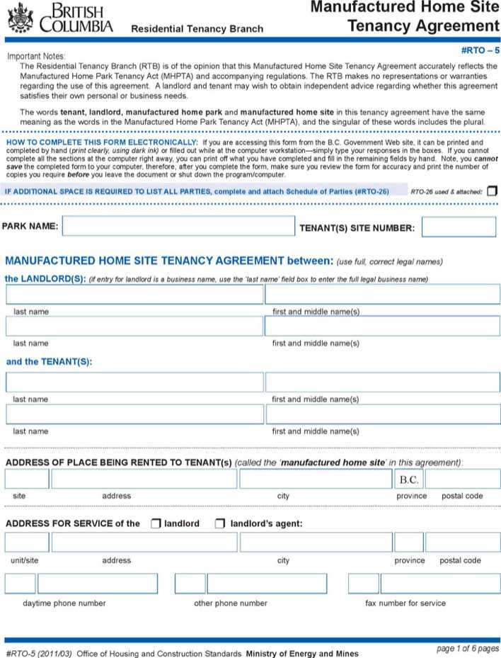 British Columbia Manufactured Home Site Tenancy Agreement Form Page 1