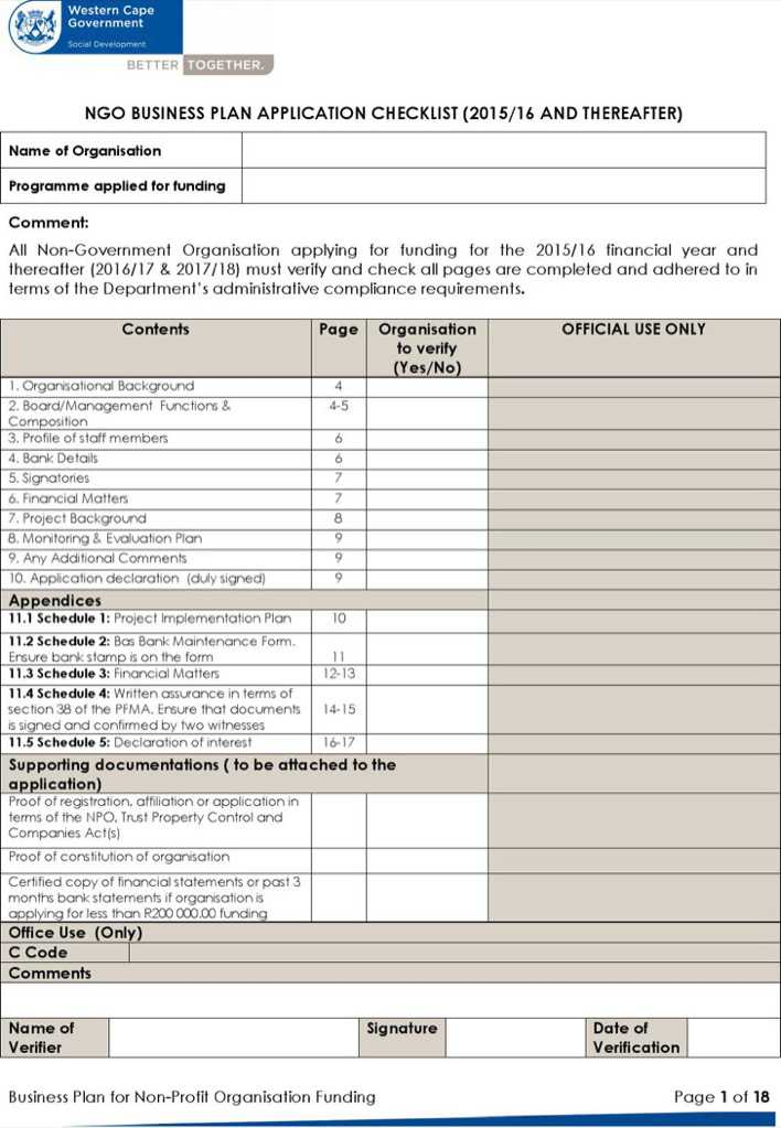 Business Plan For Non Profit Organisation Funding Ms Word Download Page 1