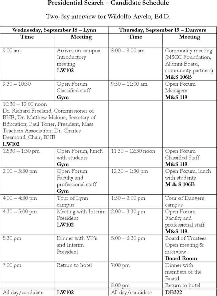 interview schedule template