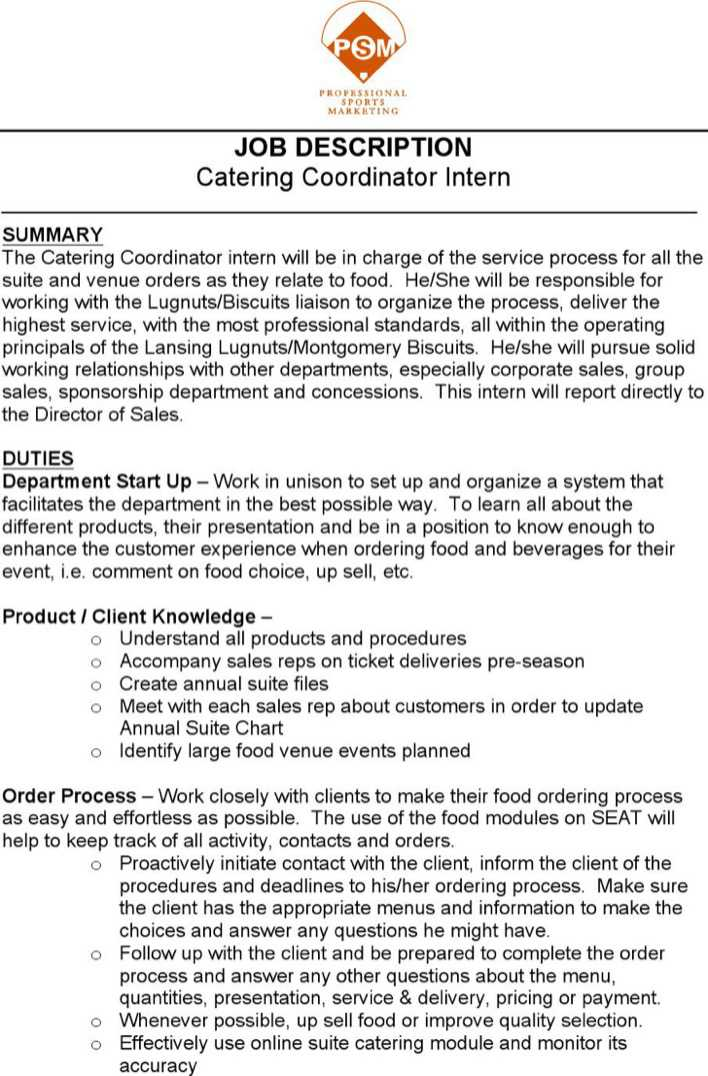 Catering Duties For Resume  Catering Job Description For Resume