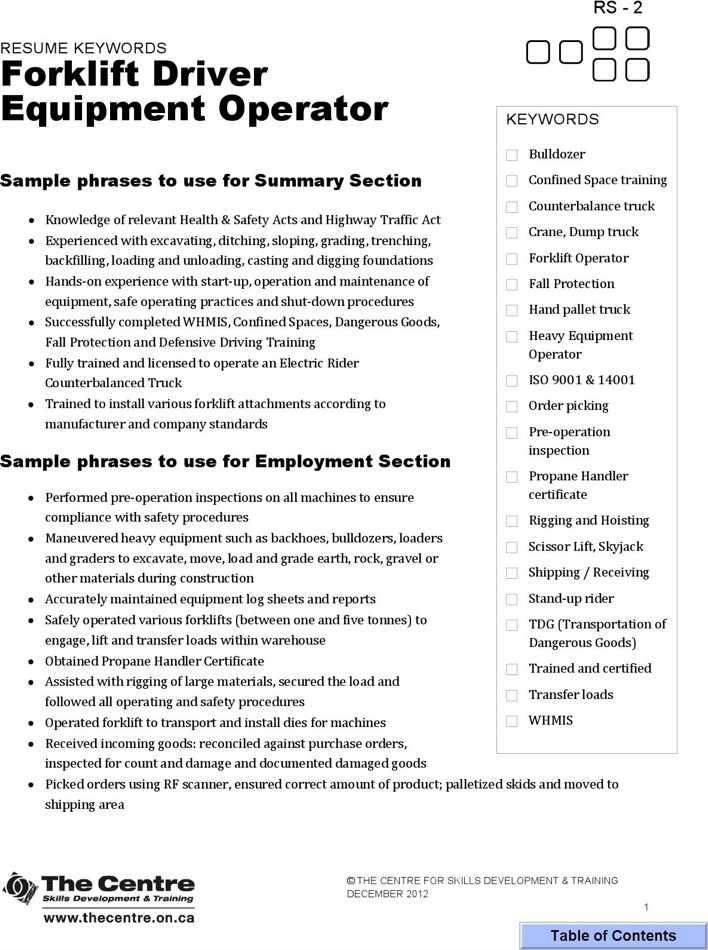 certified forklift operator resume