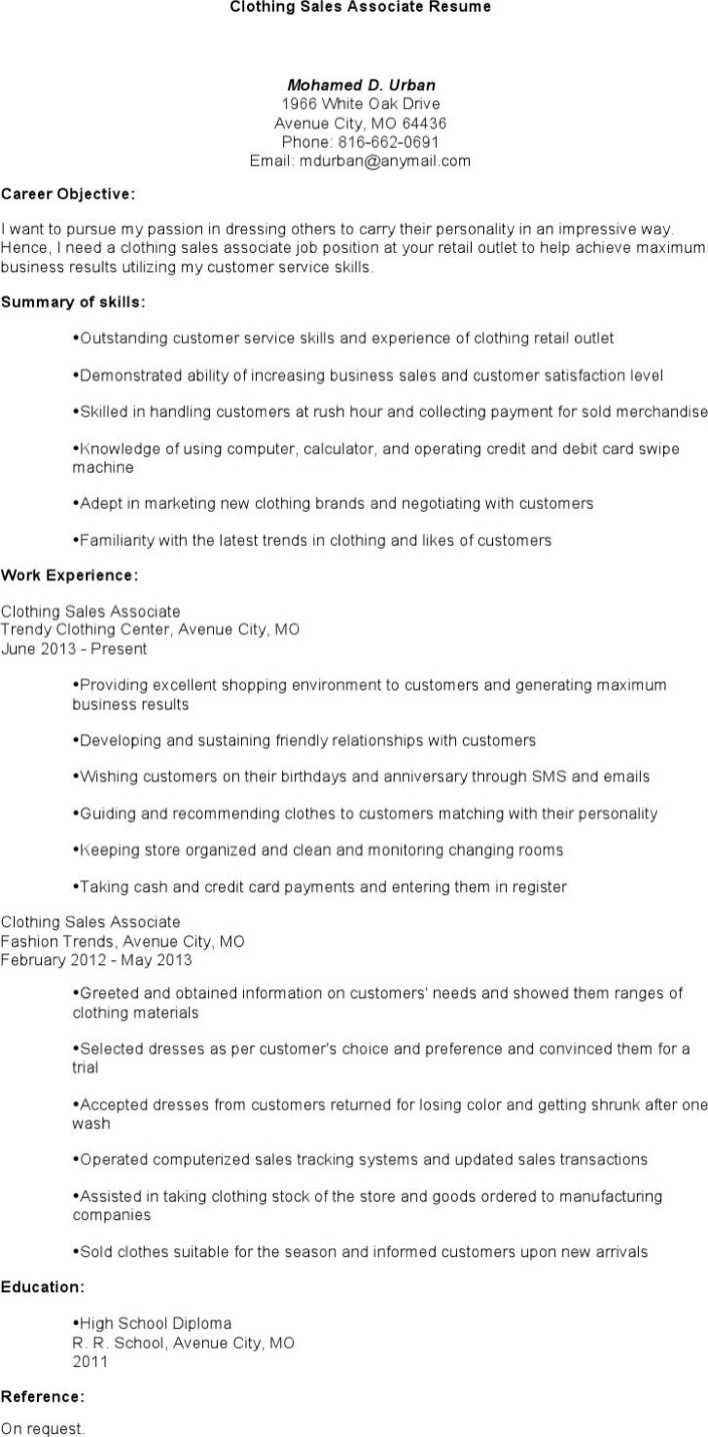 clothing retail sales associate resume. Resume Example. Resume CV Cover Letter