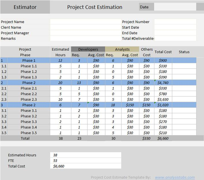 Construction Estimate Template Format Download Download