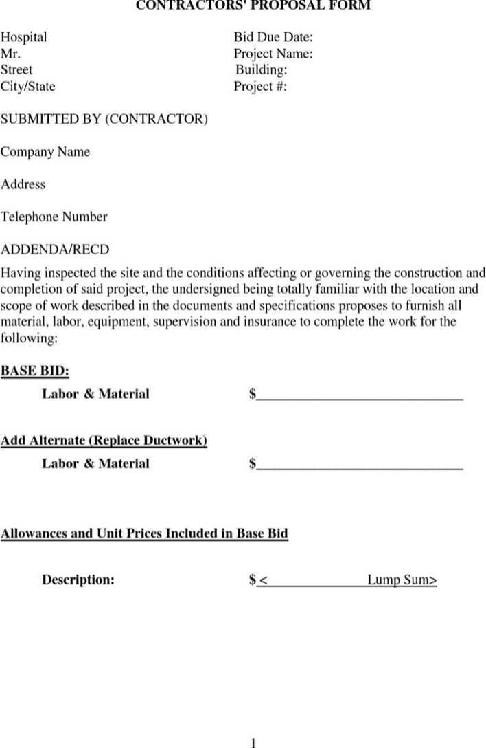 Contractors Proposal Form Template Download Free Premium