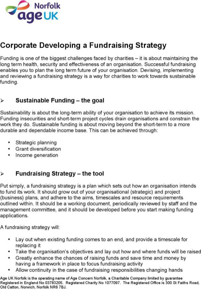 Corporate fundraising strategy template download free for Fundraising strategic plan template
