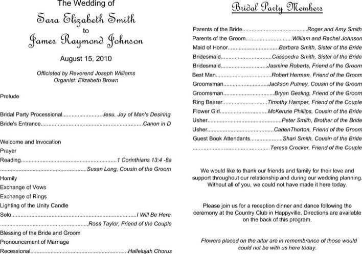 download free wedding program template editable pdf download free