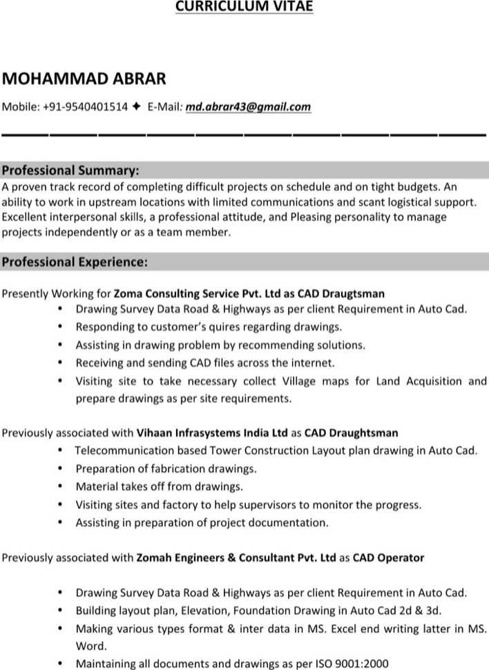 Autocad Drafter Resume Examples