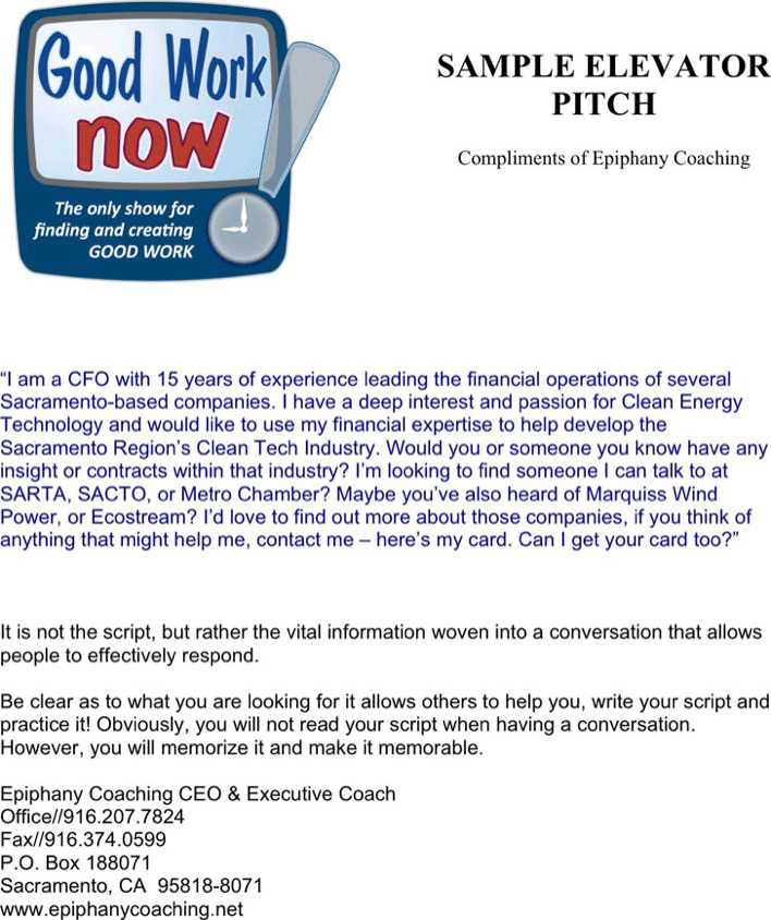 Elevator Pitch Examples   Download Free  Premium Templates
