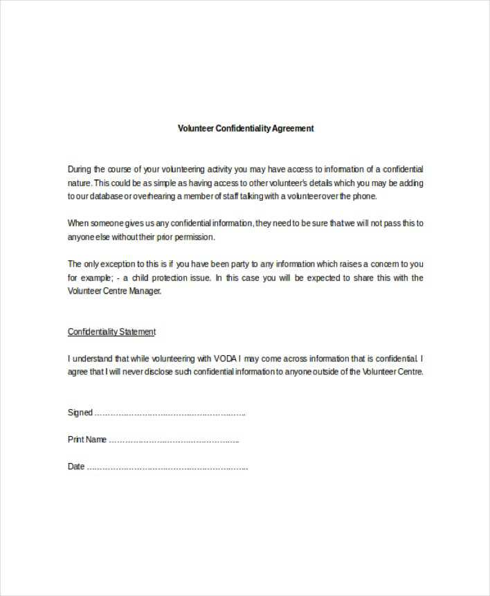 Example Standard Volunteer Confidentiality Agreement Download Free