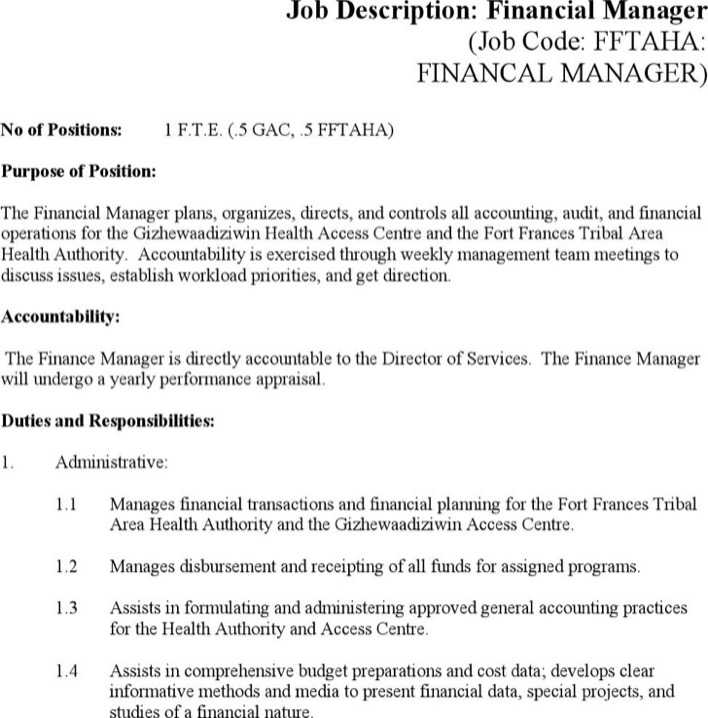 Finance Manager Job Description Template Word | Mytemplate.Co