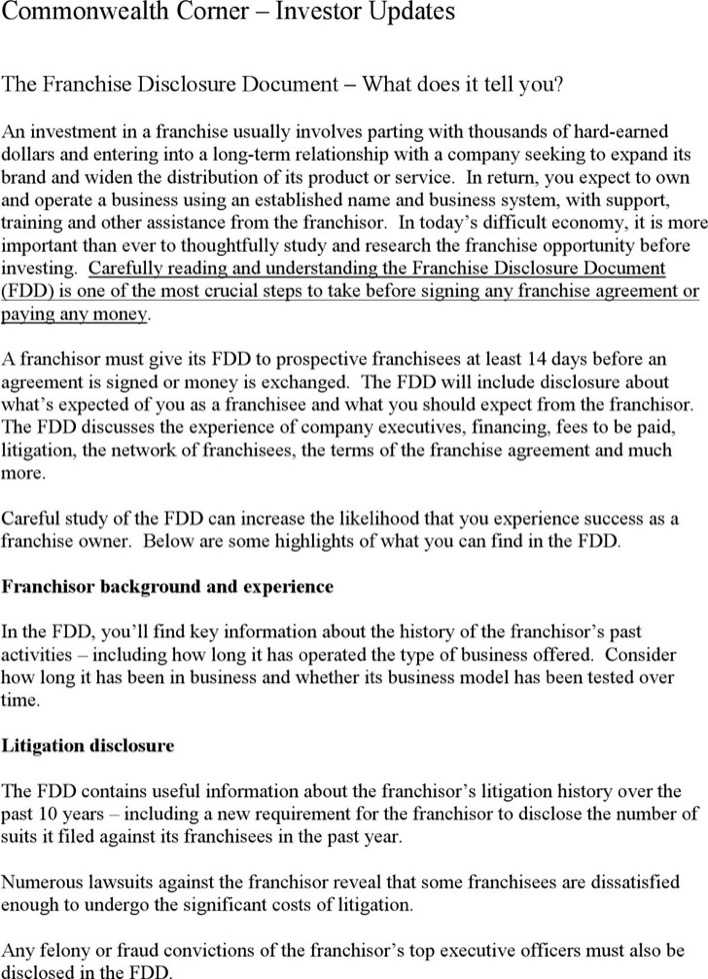 franchise disclosure document 2 download free premium templates forms samples for pdf formats. Black Bedroom Furniture Sets. Home Design Ideas