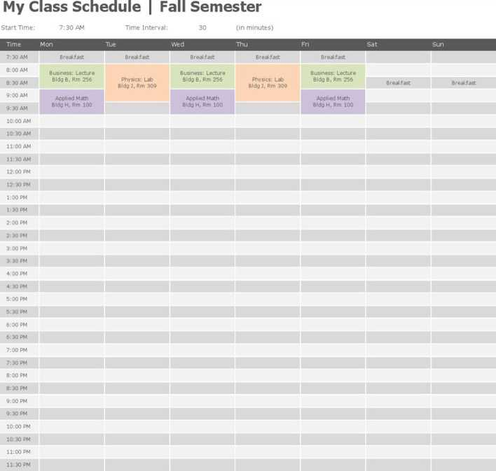 Free Download College Class Schedule Template Word Doc Page 1