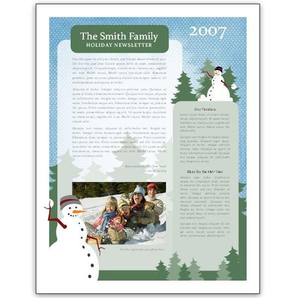 free download holiday newsletter template word doc download free