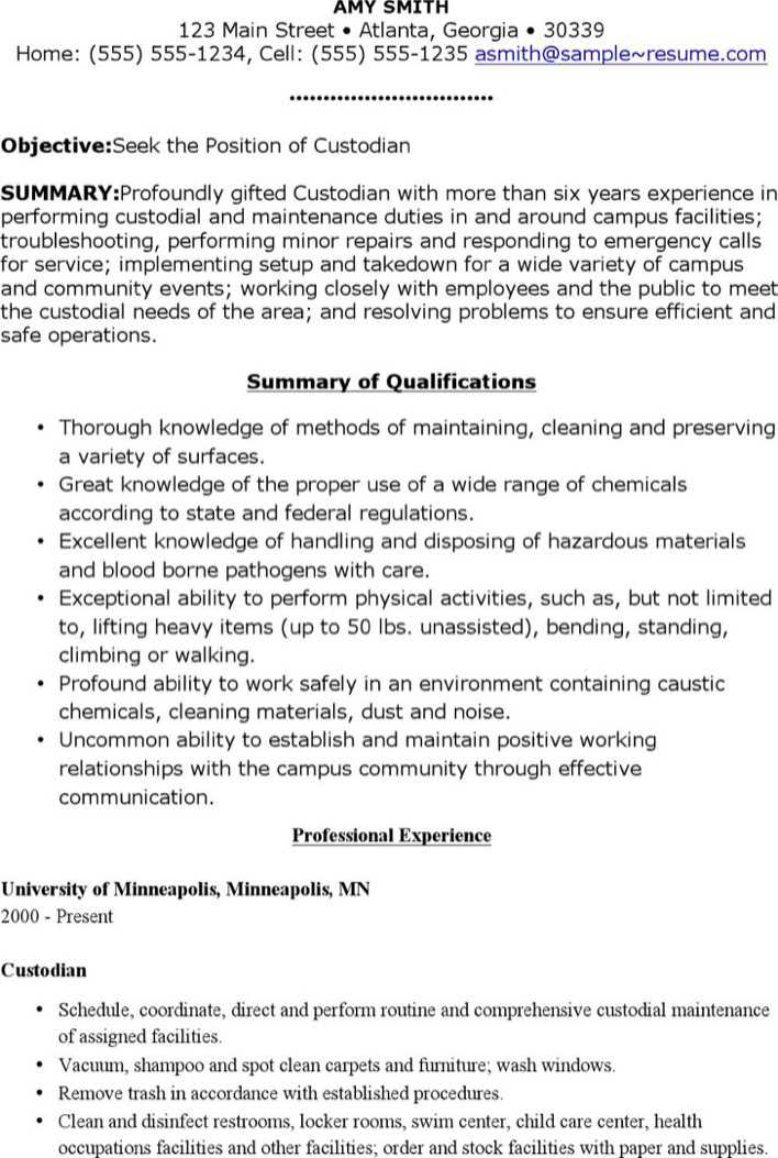 of resume for custodians