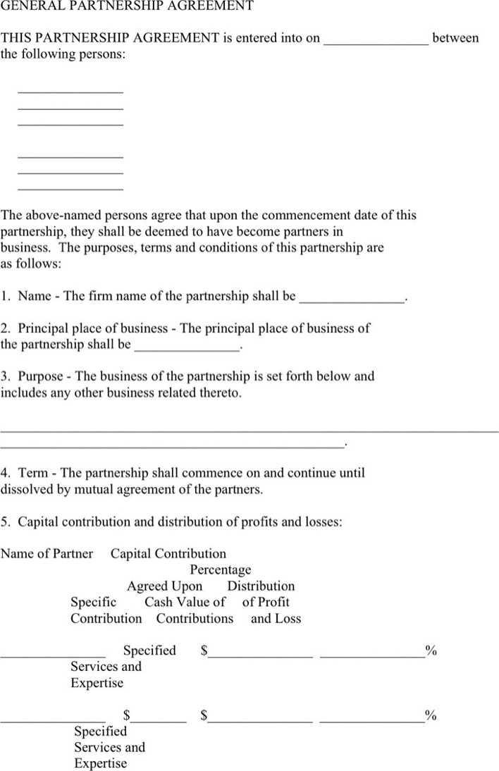 General Partnership Agreement Template Download Free Premium