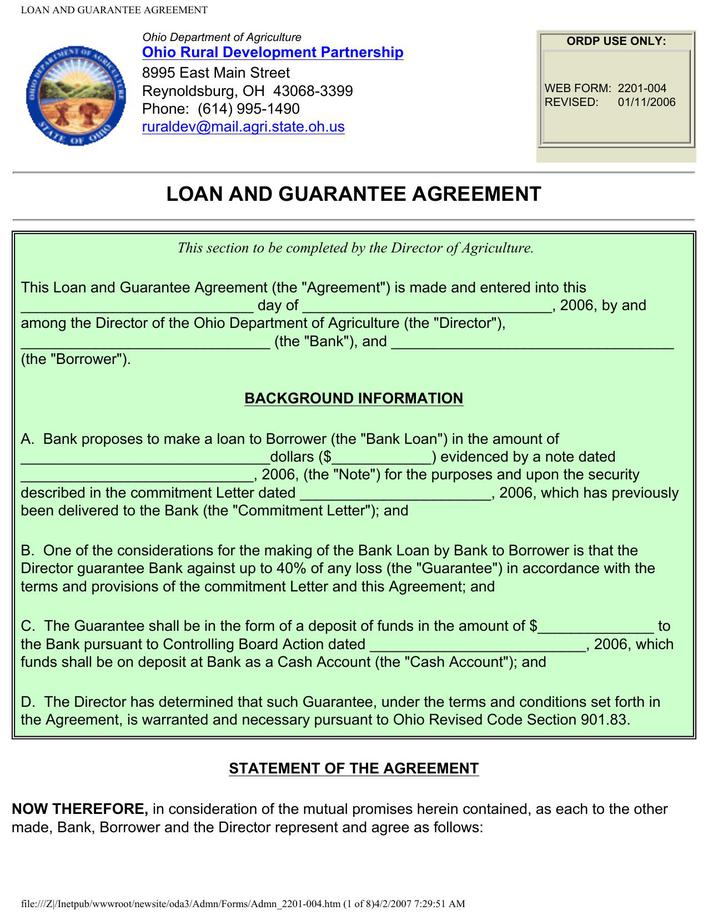 Guarantee Loan Agreement Form Template