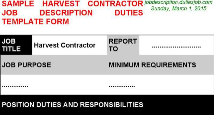 Harvest Contractor Job Description | Download Free & Premium ...