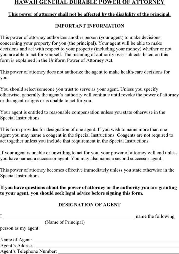 Hawaii General Durable Power Of Attorney Form Download Free