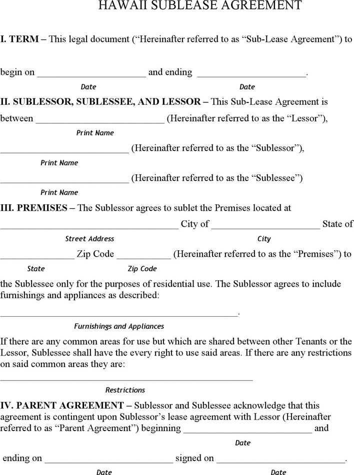 Hawaii Sublease Agreement Form