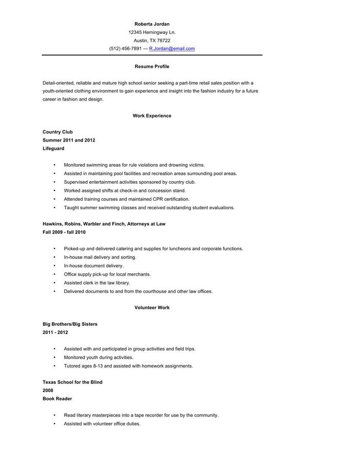 high school student resume template microsoft word format 2010