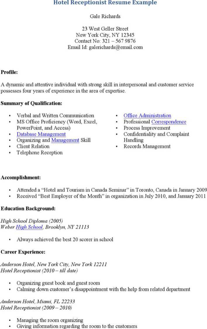 100 Front Office Resume Samples 100 Front Office Manager