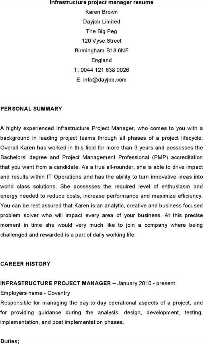 infrastructure project manager resumes