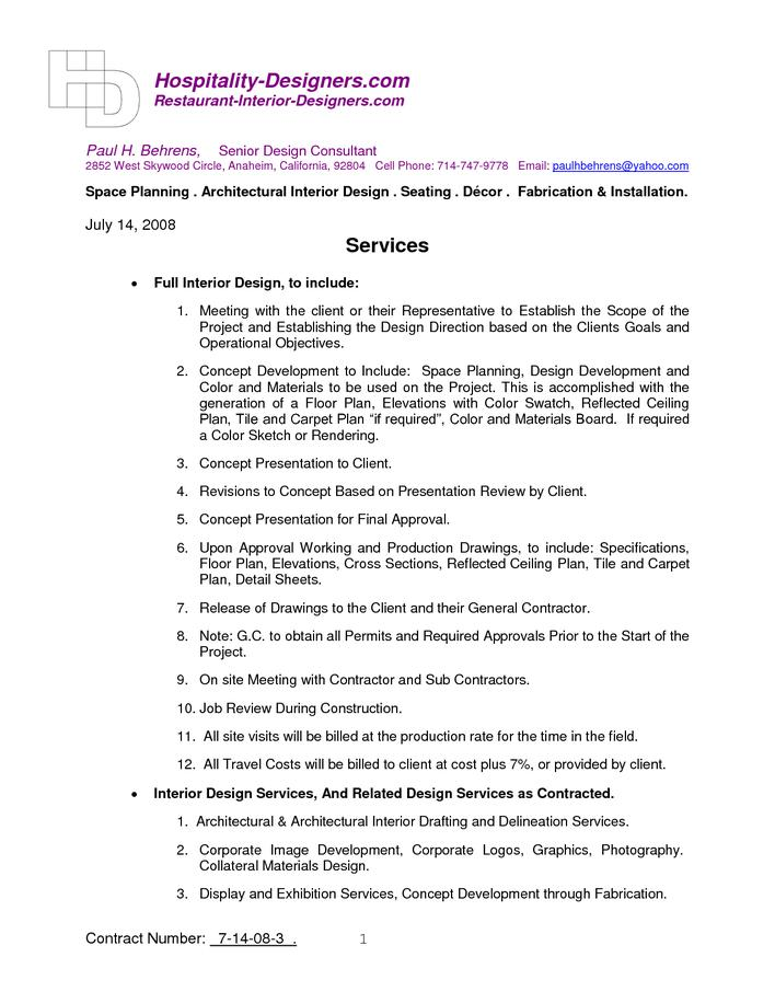 Interior Designer Contract Word Free Download Page 1