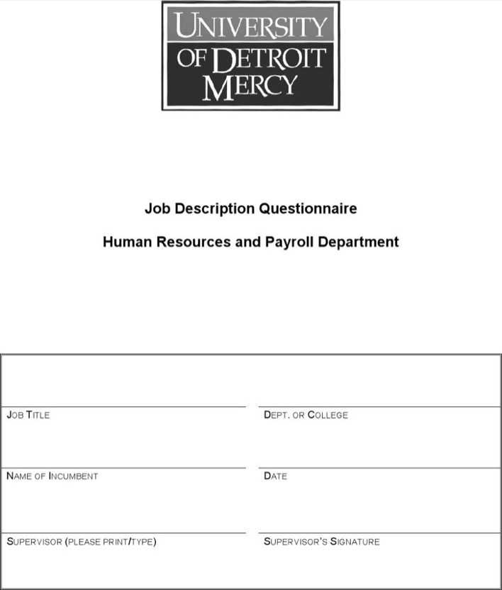 job descriptive index questionnaire
