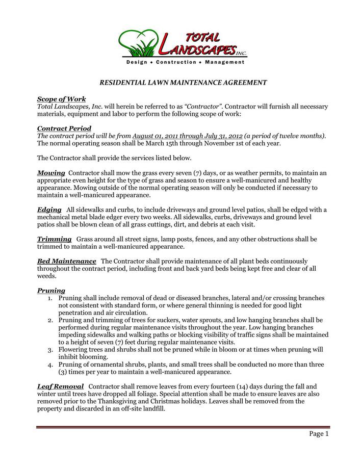lawn service contract pdf format download download free premium templates forms samples. Black Bedroom Furniture Sets. Home Design Ideas