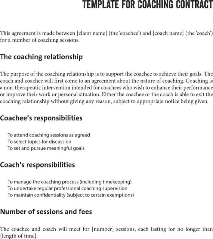 Life coaching contract template download free premium for Coaching contracts templates