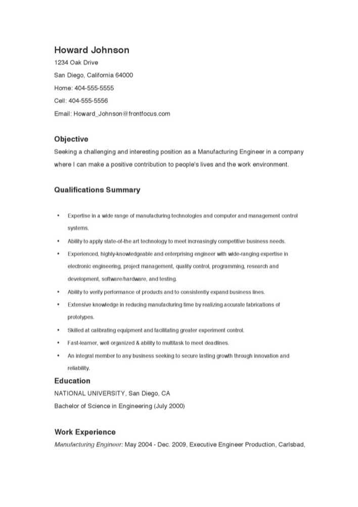 Resume For Installation Or Production Objective